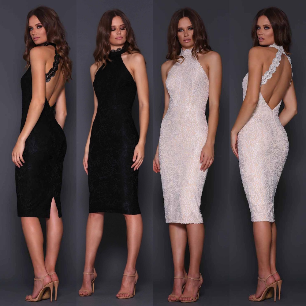 Elle Zeitoune Sequin Design Midi Gold Dress Low backless Womens Cocktail Party