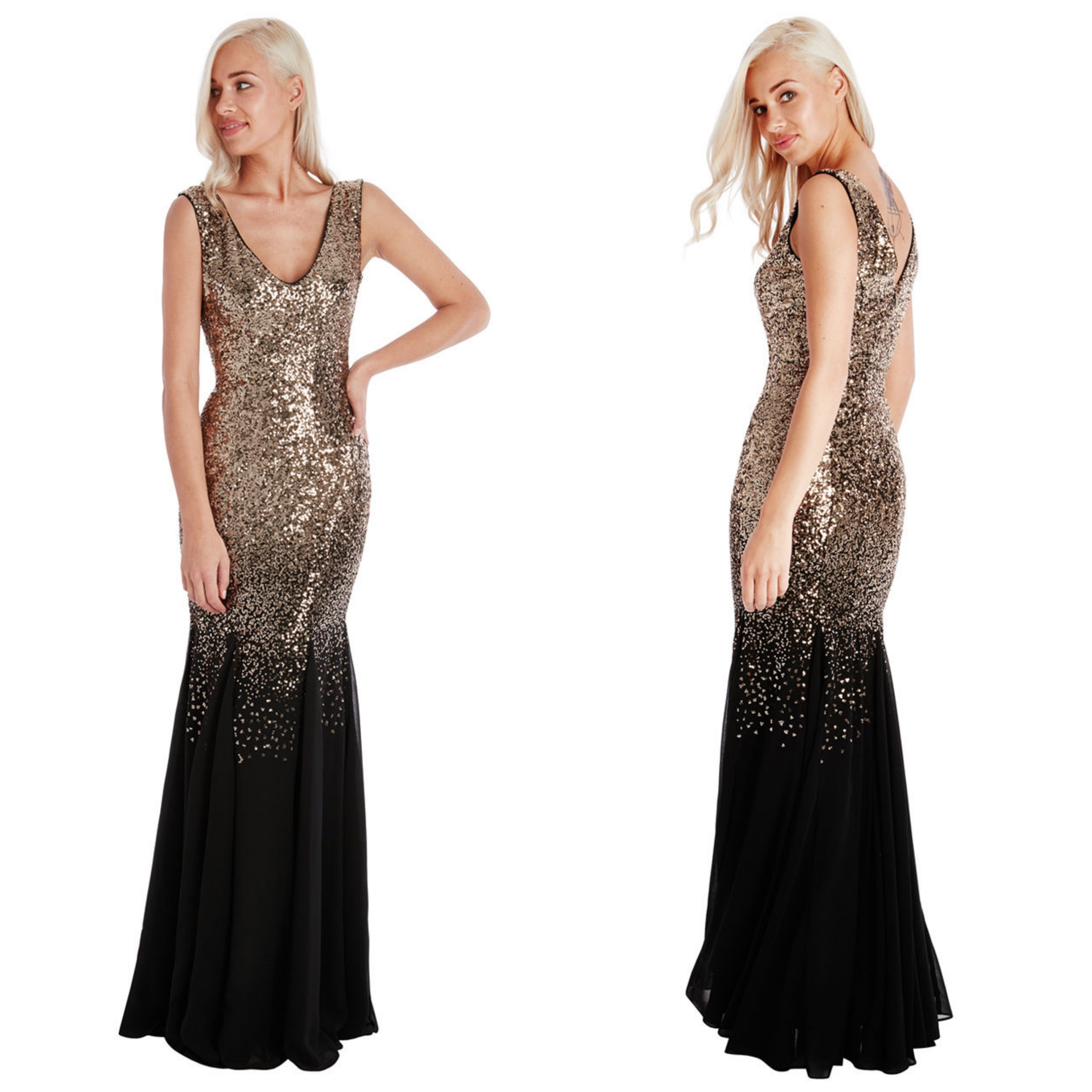 Ladies Long Sequin Chiffon Evening Maxi Party Dress Ball Gown Womens ...
