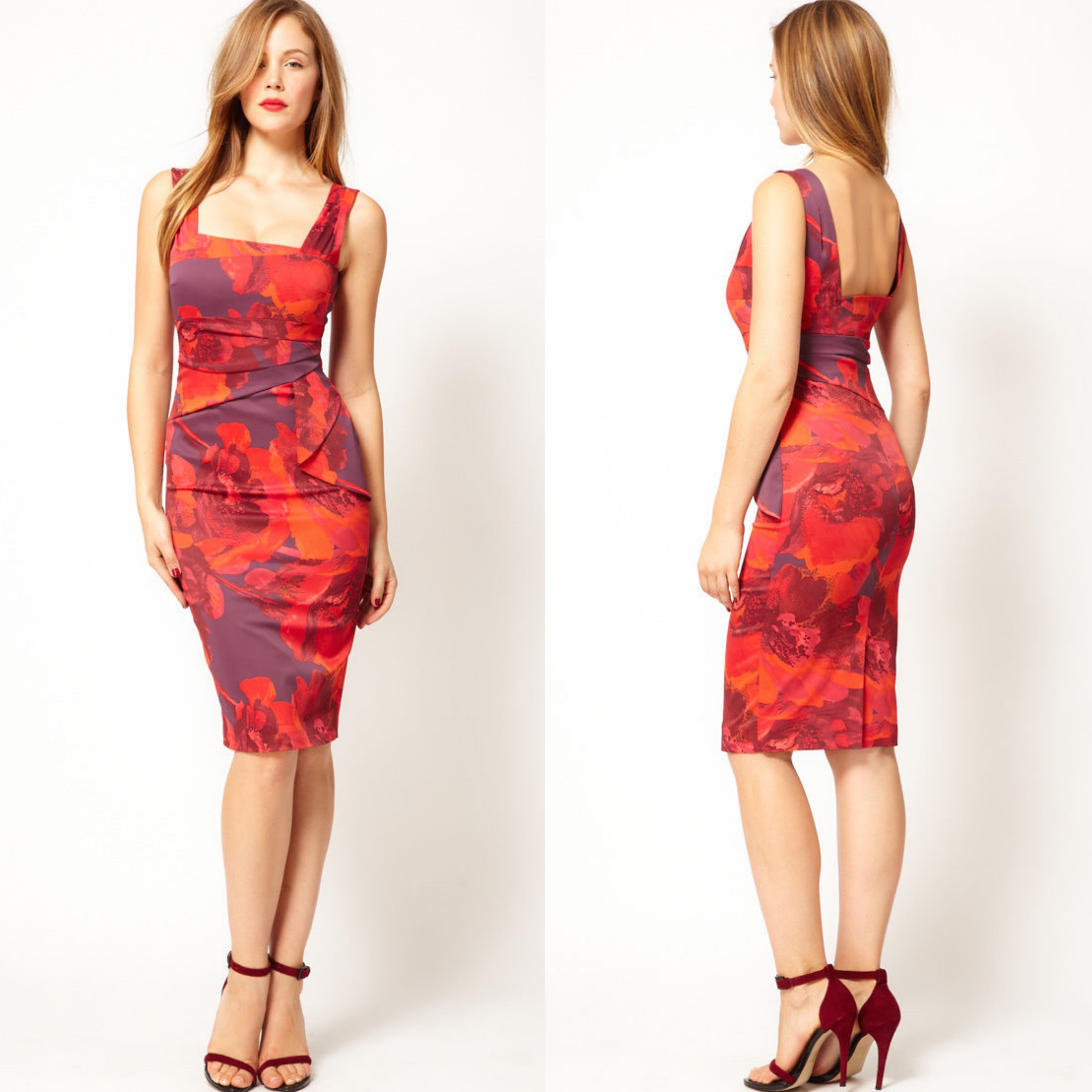 New Karen Millen Dress Floral Print Satin Bodycon Pencil Red Purple ...