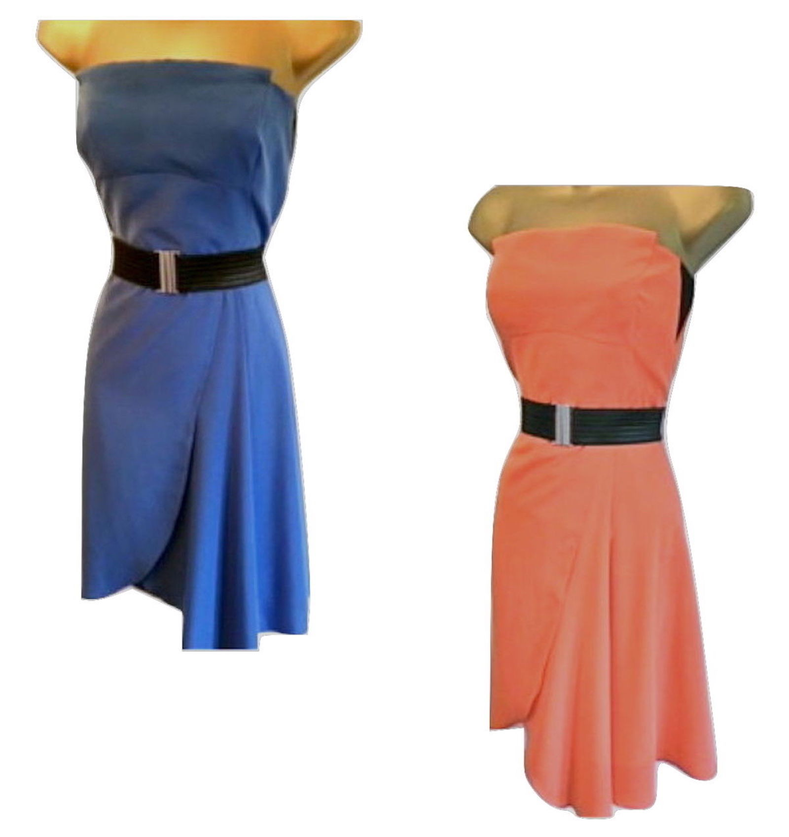 4c884d20d3c1 Designer Brand - Karen Millen Dress Shape - Fitted strapless. Main Colour -  Blue or Coral Orange Material - Soft Cupro Length - Knee Length Dress