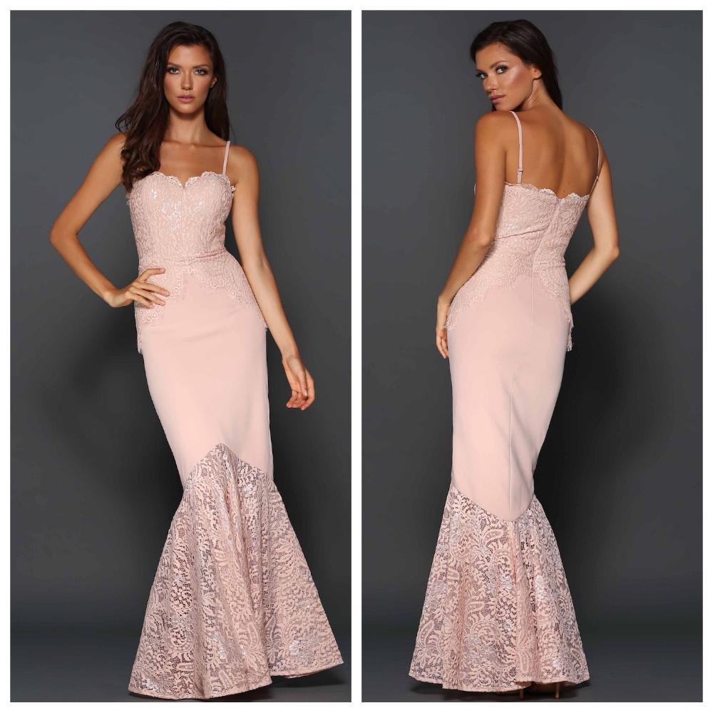 Designer Elle Zeitoune Pink Lace Corset Ball Gown Long