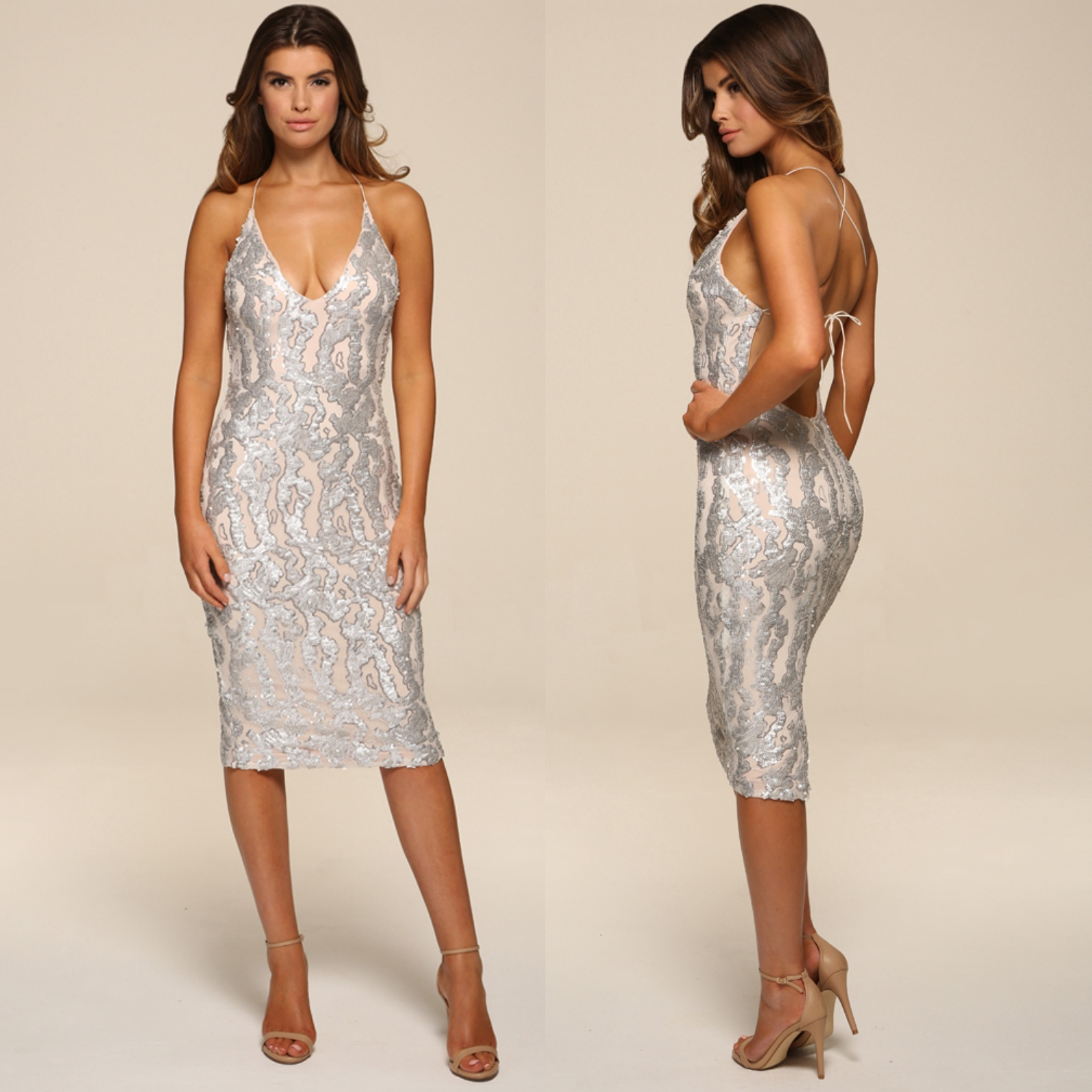Womens Honor Gold Luxe Sequin Low Back Design Midi Evening