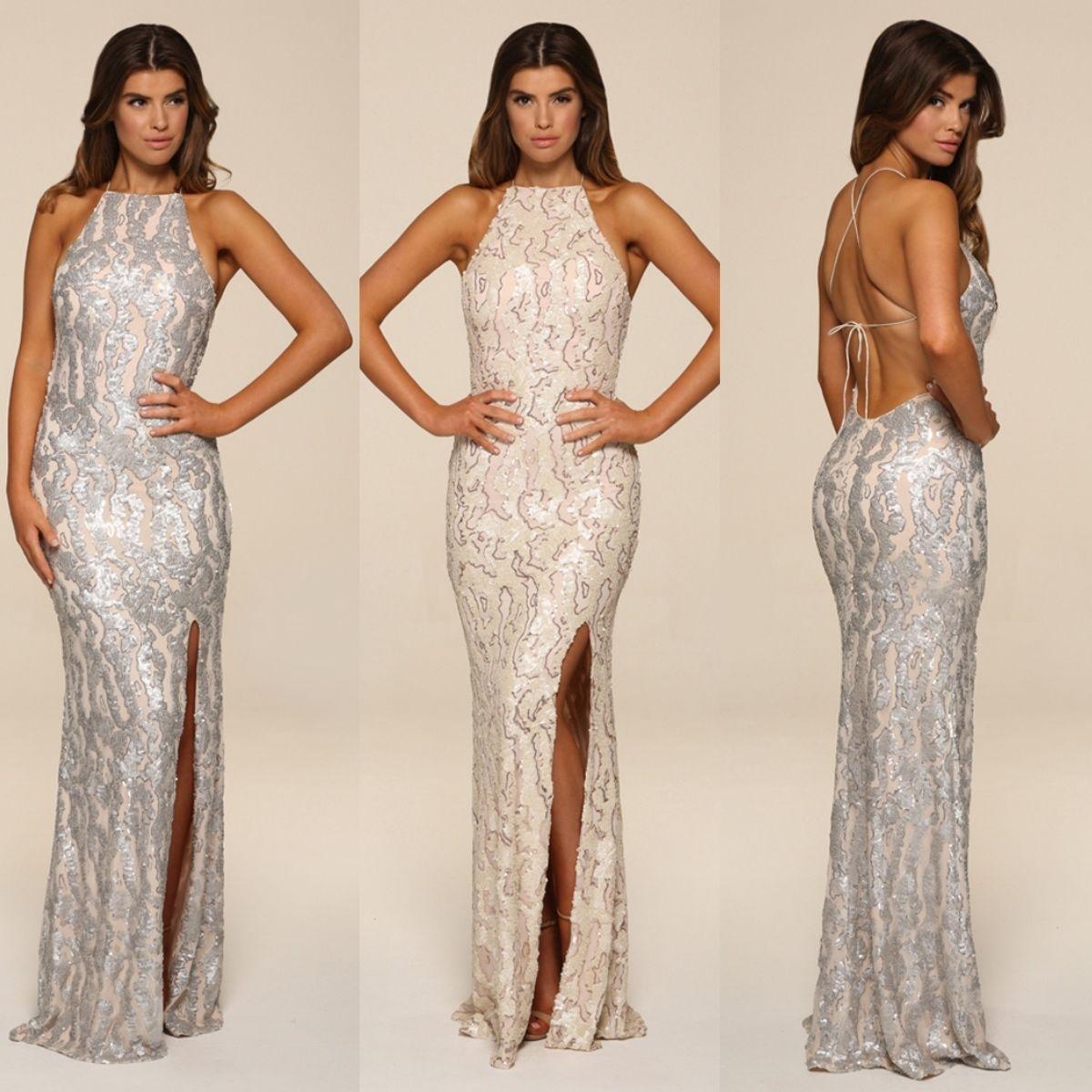 Honor Gold Harley Sequin Maxi Evening Dress Backless Design Long ... d657300e0