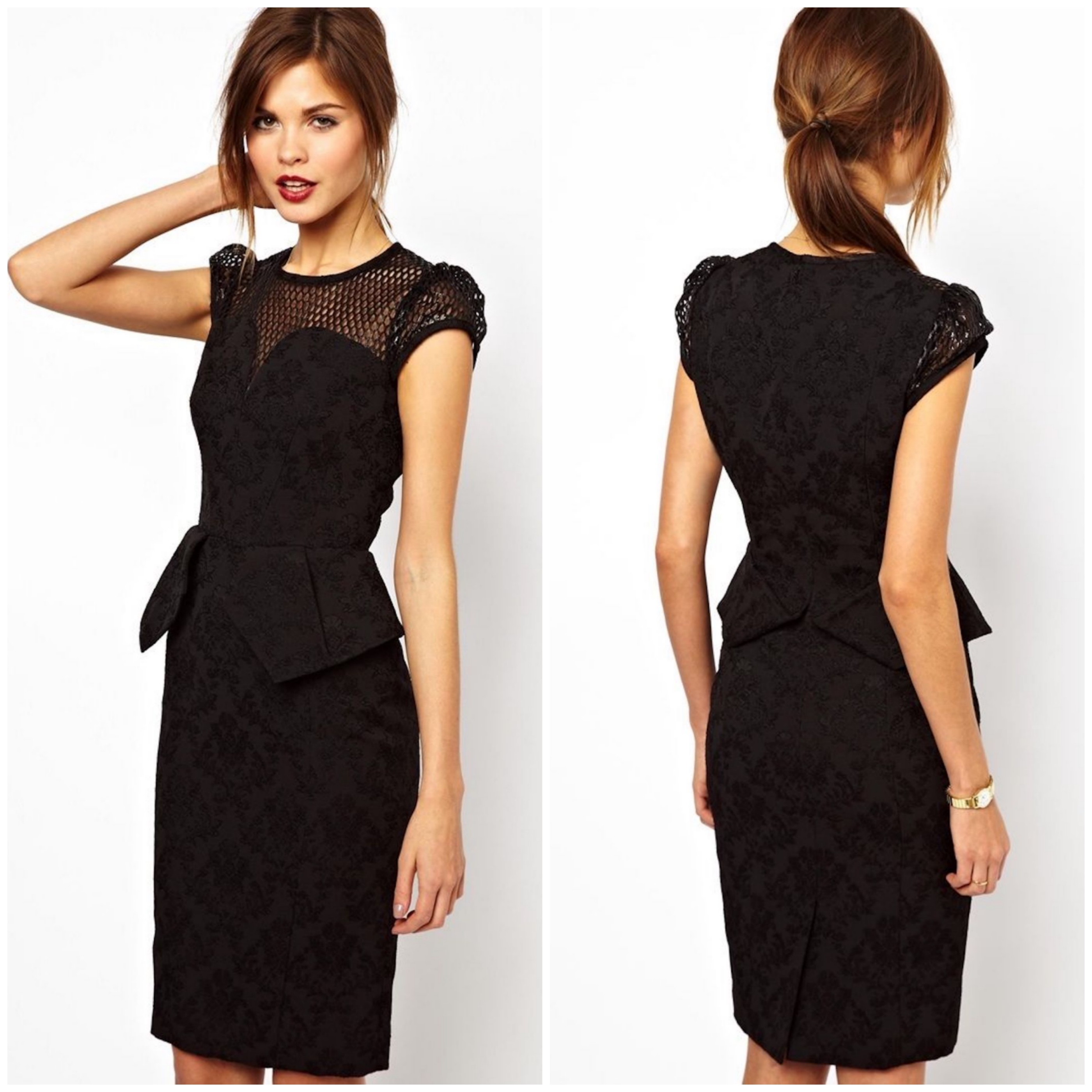 Womens KAREN MILLEN Brocade Peplum Pencil Dress Black Evening ...