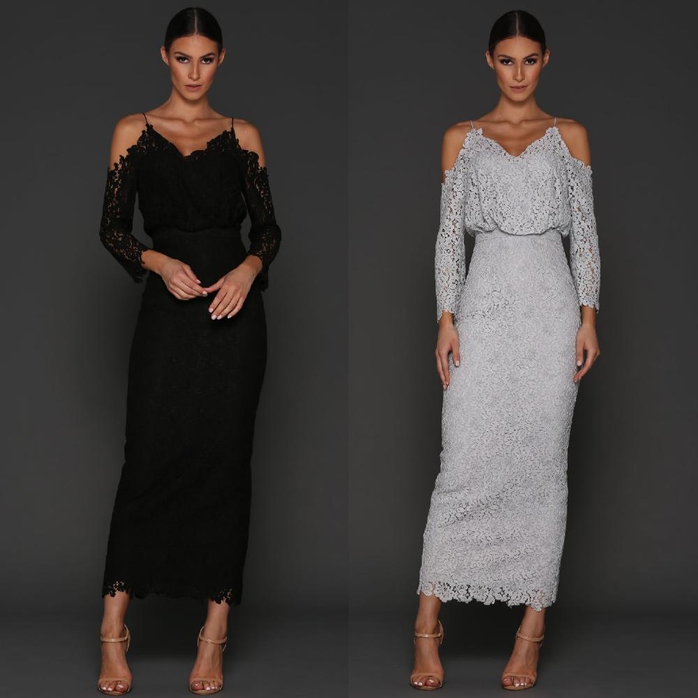 Designer Elle Zeitoune Lace Cocktail Evening Long Wedding