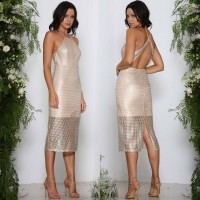 Elle Zeitoune Gracie Gold Sequin Detail Midi Dress