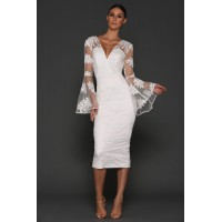 Elle Zeitoune Kassidy White Lace Midi Dress