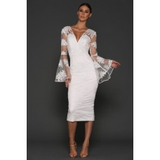 Elle Zeitoune Kassidy Lace Flared Sleeve Dress White