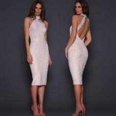 Elle Zeitoune Meagan Low Back Lace Dress White