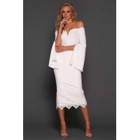 Elle Zeitoune Bella Off The Shoulder Midi Dress White