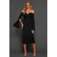 Elle Zeitoune Bella Off The Shoulder Midi Lace Dress Black