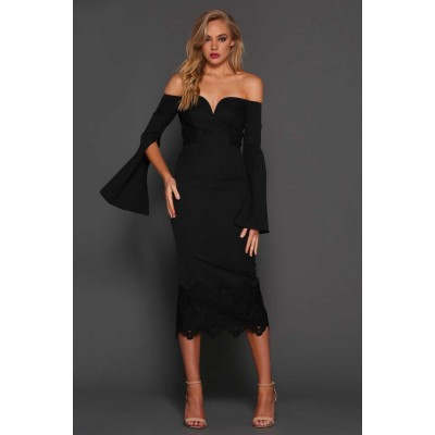 Elle Zeitoune Bella Off The Shoulder Midi Lace Dress Black
