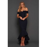 Elle Zeitoune Camille Off The Shoulder Gown Navy