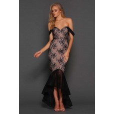 Elle Zeitoune Danita Sheer lace Gown Black