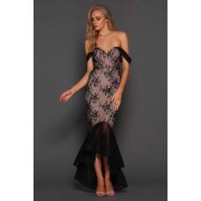 Elle Zeitoune Danita Sheer lace Gown Black