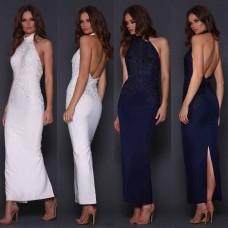 Elle Zeitoune Jazz Halterneck Lace Bodice Gown Navy Blue