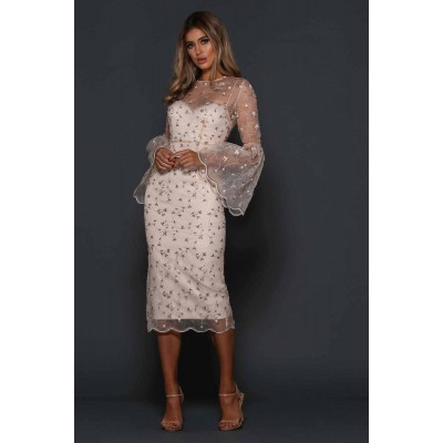 Elle Zeitoune Gayle Floral Flared Sleeve Midi Dress Neutral