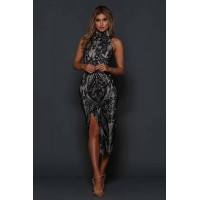 Elle Zeitoune Kay Black Floral Split Lace Midi Dress Black