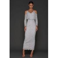Elle Zeitoune Lace Off The Shoulder Dress Silver