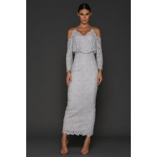 Elle Zeitoune Lace Off The Shoulder Dress Silver