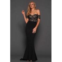 Elle Zeitoune Off The Shoulder Monroe Gown in Black