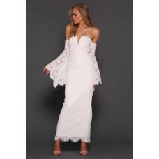Elle Zeitoune Sherman Long Bell Sleeve lace Gown White