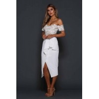 Elle Zeitoune Tango Off The Shoulder Midi Dress White