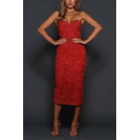 Elle Zeitoune Vienna Lace Corset Midi Dress Chilli Red