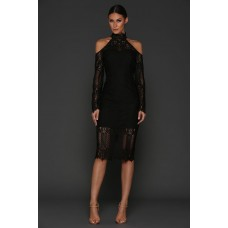 Elle Zeitoune Lace Choker Dress Black