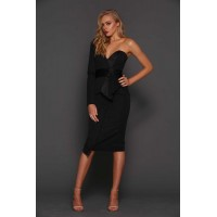 Elle Zeitoune Dolores One Shoulder Midi Dress Black