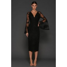 Elle Zeitoune Kassidy Lace Flared Sleeve Dress Black