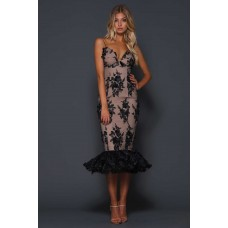 Elle Zeitoune Krystal Midi Fishtale Dress Black