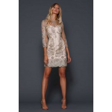 Elle Zeitoune Liberty Mini Lace Dress Gold