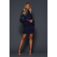 Elle Zeitoune Nala Mini Lace Belle Sleeve Dress Navy