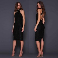 Elle Zeitoune Meagan Low Back Lace Midi Dress Black