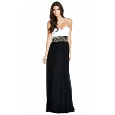 Forever Unique Guinevere Maxi Dress Black | White