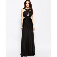 Forever Unique Spritz Wrap Front Maxi Keyhole Dress Black