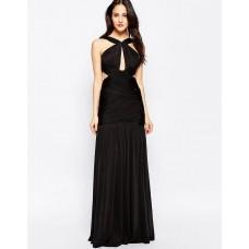 Forever Unique Spritz Wrap Front Maxi Keyhole Dress Black