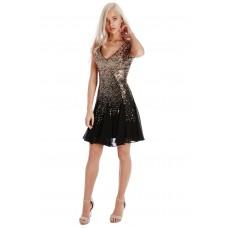 Goddiva Sequin Chiffon Skater Dress Black Gold