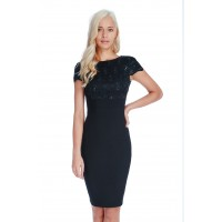 City Goddess Sequin Lace Bodycon Dress Black