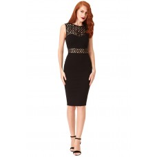 City Goddess Sequin Cut-out Bodycon Dress Black