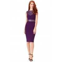 City Goddess Sequin Cut-out Bodycon Dress Purple
