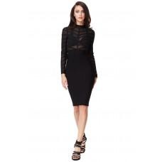 Goddiva Sheer Mesh Bandage Bodycon Dress Black