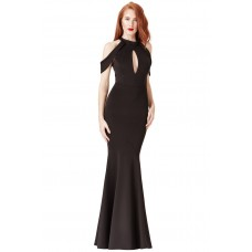 Goddiva Cut-Out Shoulder Fishtail Maxi Dress Black
