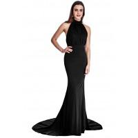 Goddiva Halterneck Black Gown