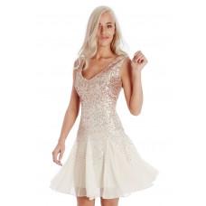 Goddiva Sequin Chiffon Skater Dress Cream Champagne