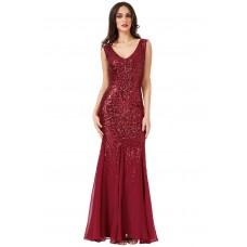 Goddiva Maxi Sequin Chiffon Gown Wine Red