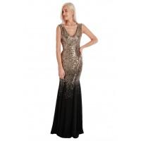 Goddiva Maxi Sequin Chiffon Long Dress Black Gold