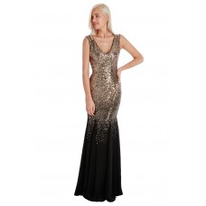 Goddiva Maxi Sequin Chiffon Long Dress Black Gold