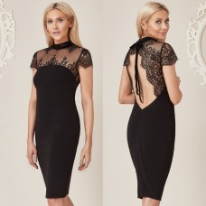 Stephanie Pratt For Goddiva Lace Back Dress Black